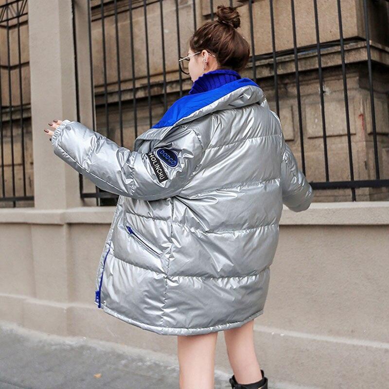 Surdimensionné White Argent Long Black Et D'hiver Col red Épais Lâche 487 De Brillant Nouvelle Veste Stand silver Hiver Femmes Chaud Manteau RqqdXf