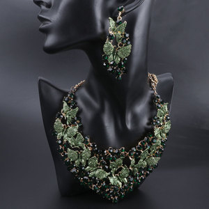 Image 5 - Luxury Green Necklace Earrings Set Butterfly Jewelry Sets for Brides Gift for Women Wedding Party Indian Costume Jewellery