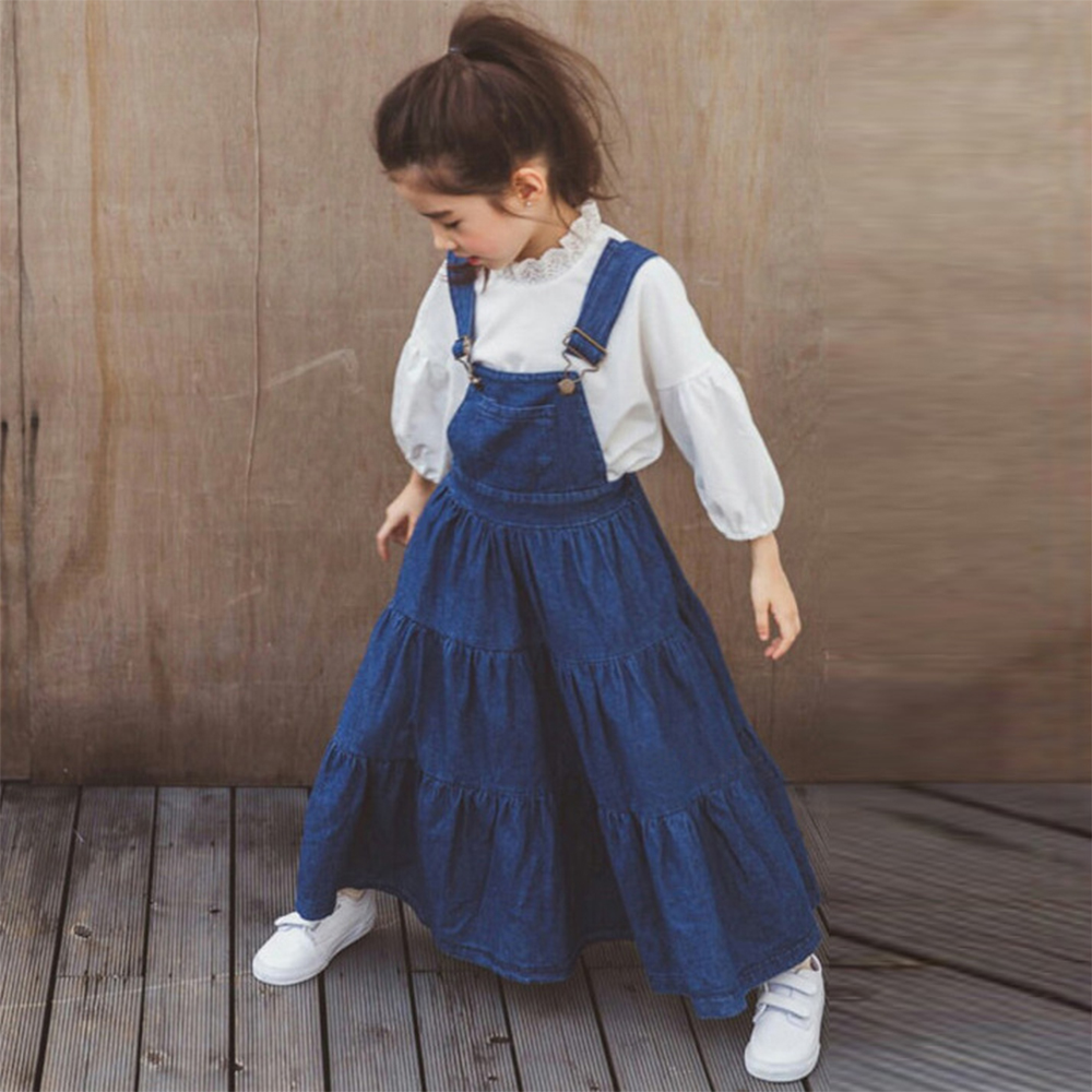 7aafabe7a06 Denim Overalls for Baby Girls Jeans Dress Ruffle Long Design Korean Style  Teens Clothes for Age. sku: 32846545352