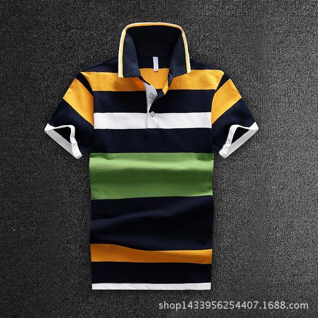 Мужчины Футболка-Поло Новый 2016 Бизнес Мужчины С Коротким Рукавом Хлопок Рубашки Поло в Полоску Темно-Синий D1648
