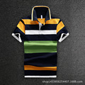 Men Polo Shirt The New 2016 Business Men Short Sleeve Cotton Polo Shirt Striped Navy Blue D1648