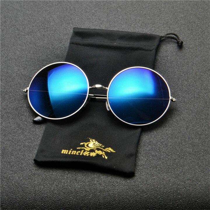MINCL Oversized Vintage Sunglasses Men Round 2019 Metal Frame Gold Black Red Retro Men Sun Glasses for Women Brand Designer NX 4