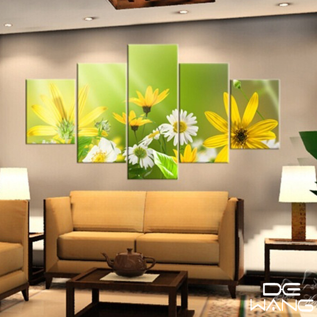5 Pieces Canvas Wall Art Home Decor Poster Print White Flowers Wall ...
