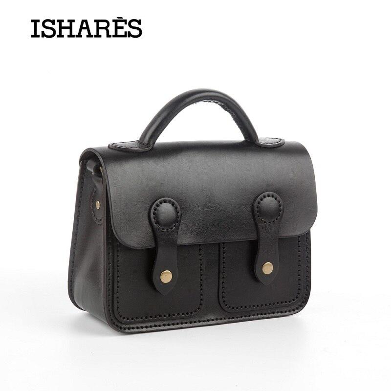 ФОТО ISHARES Genuine Leather Messenger Bags Retro Handmade Bags Solid Packet Preppy Style Hard Cow Leather school handBags IS8095