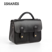 ISHARES Genuine Leather Messenger Bags Retro Handmade Bags Solid Packet Preppy Style Hard Cow Leather school handBags IS8095