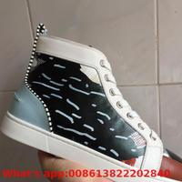 High Top Shoes Lace Up Black Cloth Cow Leather Without Rivets Red Bottom For Men Shoes Sneakers Flat Loafers 2018