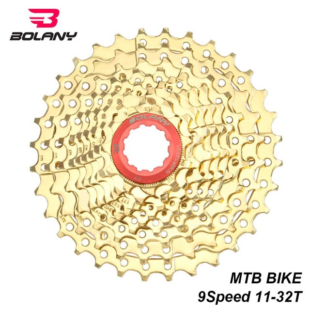 US $18 9 5% OFF|BOLANY 9 Speed Cassette 11 32T MTB Bicycle Freewheel Ratio  Sprocket Gold Steel Mountain Bike Cassete Parts For Sram Shimano-in Bicycle
