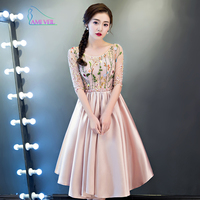 Pink Black Floral Embroidery Half Sleeve Bead Sweet Formal Evening Gowns Festa Longo 2017 Prom Party