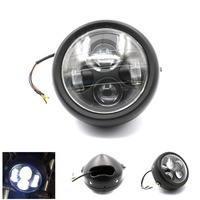 Black Motorcycle Headlight 6 1 2 LED Metal Headlamp Projector Daymaker Head Light For Harley Chopper