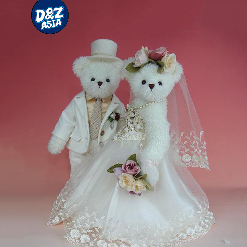 Kawaii plush stuffed animal teddy bear lovely wedding couple bear teddy wedding gift doll dress 2pcs pair lovely couple teddy bear with cloth dress plush toy stuffed baby doll girls