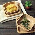 Japonês Criações de Madeira Quadrado De Madeira Tigelas Tigela De Salada De Frutas Tigela Prato de Sobremesa Prato de Sobremesa de Madeira Utensílios De Mesa De Madeira
