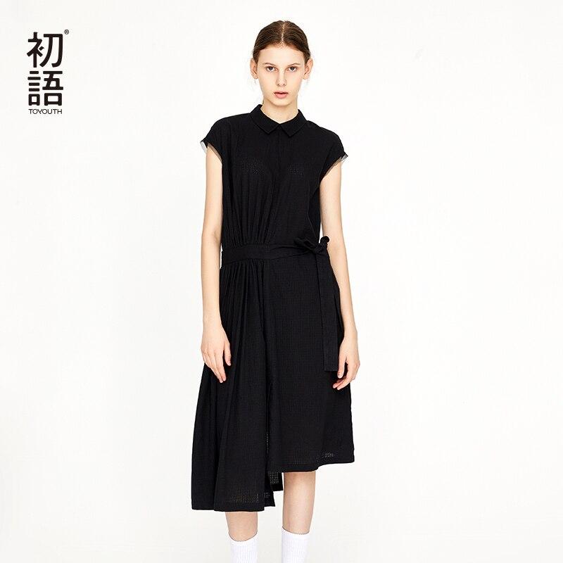 Toyouth лето отложным воротником модное платье Платье черного цвета Оригинальное платье