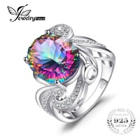 Luxury Cocktail Ring 9 5ct Genuine Rainbow Fire Mystic Gem Stone Topaz Oval Concave Pure Solid