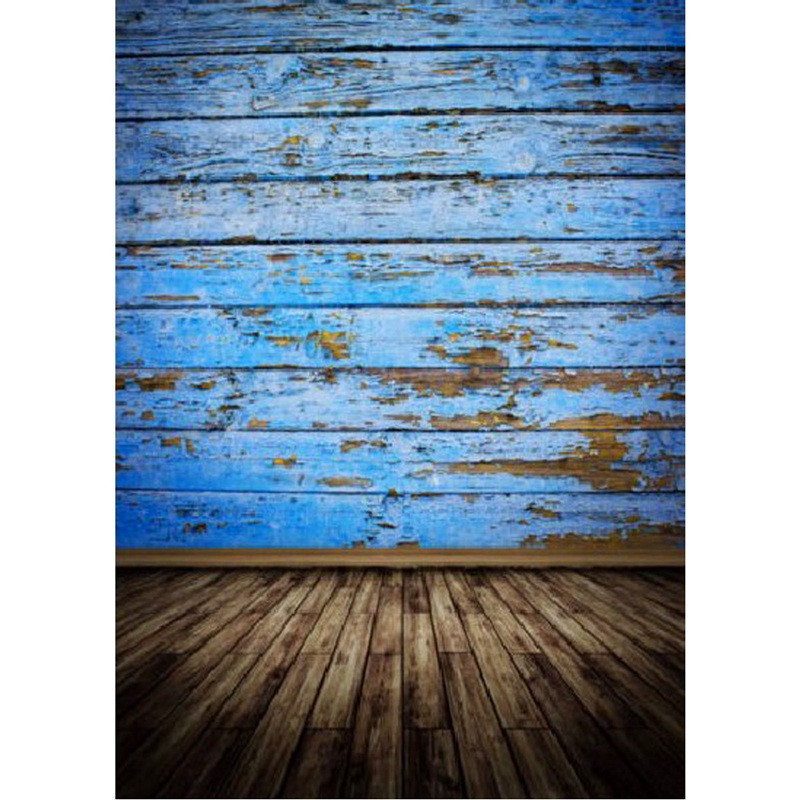 5x7ft Vintage Blue Wood Floor Photography Background For Studio Photo Props Baby Photographic Backdrops Cloth 2.1m x 1.5m rain