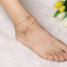 Retro Punk 2017 New Summer Fashion Anklet Temperament Double Tassel Bell Anklet Lady Legs Anklet Wholesale Tobilleras Para Mujer punk style layered coins tassel anklet for women