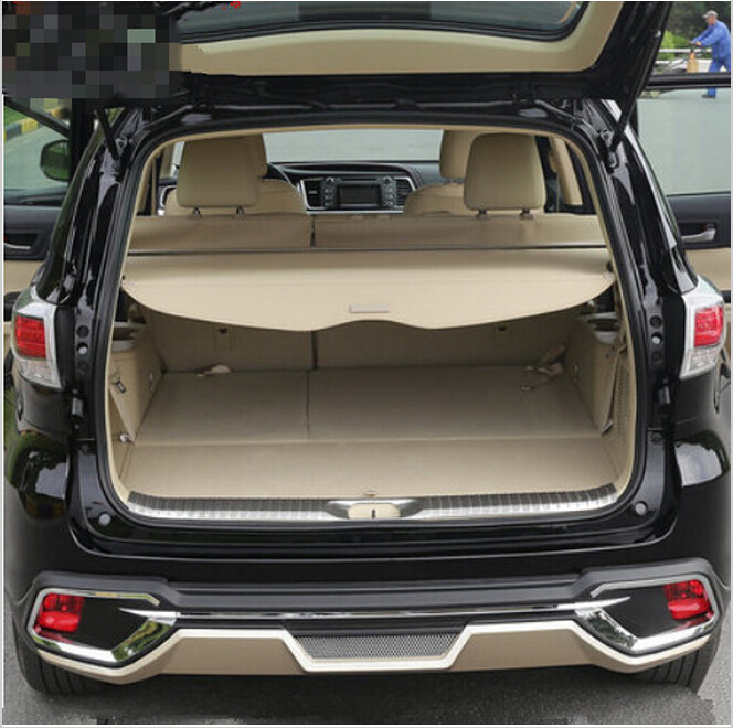 Car Rear Trunk Security Shield Shade Cargo Cover For Toyota Highlander 2009 2010 2011 2012 2013 2014 2015 2016 2017(Black beige)