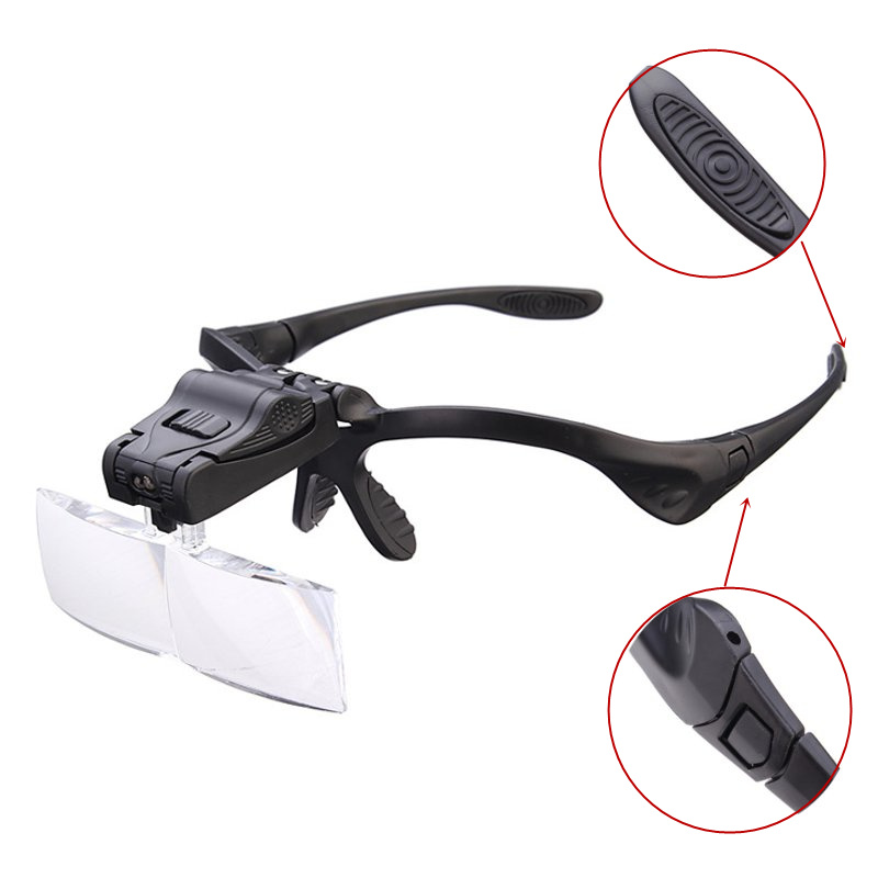 5 Lens 1.0X-3.5X Bracket Headband Eye Magnification Goggles Magnifying Glasses With 2 LED Light For Beauty Tattoo Graft Eyelash