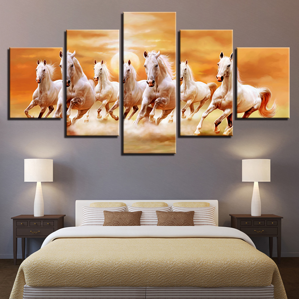 Canvas Paintings Living Room Wall Art Prints Poster 5 Pieces Running Fine Horses At Sunset Scenery Pictures Home Decor Framework