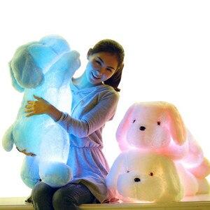 Transporte da gota Colorida Luminosa Brinquedos Para Crianças de pelúcia cão Travesseiro Almofada de Pelúcia Bicho de pelúcia Boneca de Presente de Natal do DIODO EMISSOR de Luz