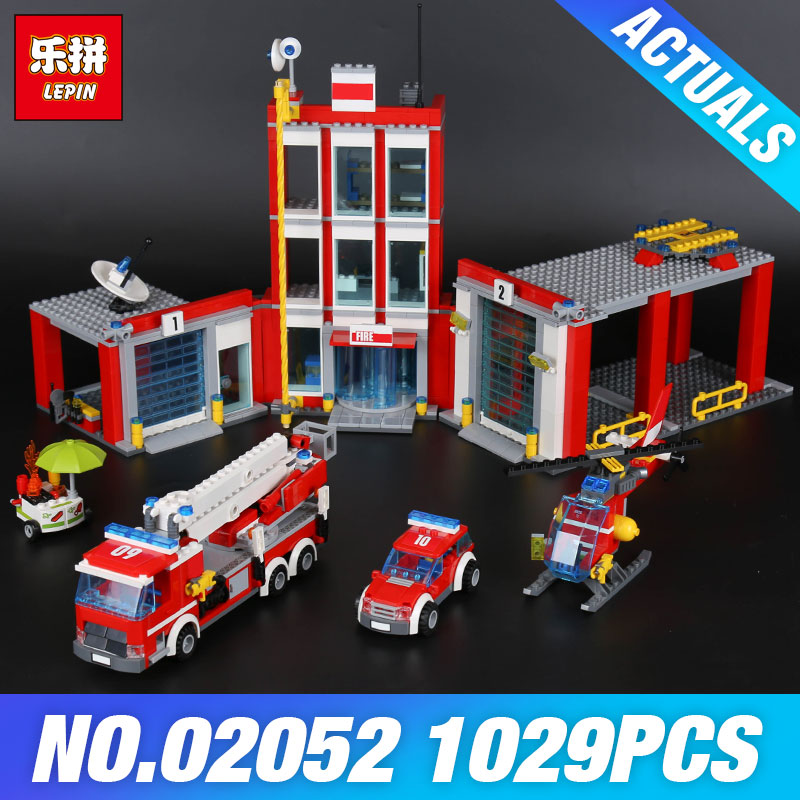 Lepin 02052 The Fire Station Set 60110 Genuine City Series 1029Pcs Building Blocks Bricks Educational Toys DIY Christmas Gift lepin 02054 genuine city series 239pcs the fire ladder truck set 60107 building blocks bricks educational christmas toy as gift