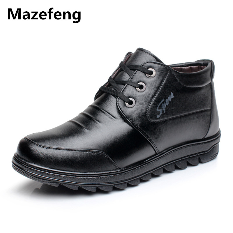 Mazefeng Winter Shoes Keep Warm Male Leather Shoes With velvet Men Dress Shoes Solid High quality Business Leather Flats Lace-up brand polo solid color golf pants for men male velvet elastic trousers keep warm in autumn winter spring
