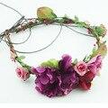 Grinalda de noiva Flor Artificial Flor Cabeça Coroa Coroa De Flores Para O Cabelo Floral Acessório De Cabelo de Noiva Casamento Flor Headpiece
