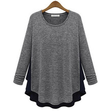 Style Women Clothes Solid Color Cotton Blend Casual Shirt Tops Long Sleeve Lady Patchwork Loose Blouse UQ84