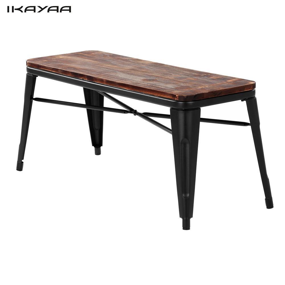 IKayaa 2 Seater Outdoor Bench Garden Chair Natural Pinewood Top Metal Frame  Patio Garden Bench Furniture