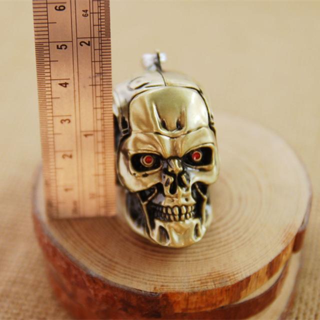 Good Quality 7cm Hot Movie The Terminator Metal 3D Skull Keychain Toy Chaveiro Key Ring Porta Porte Clef Anillas Llavero Toy