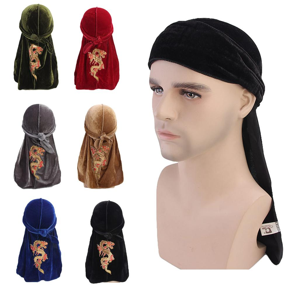 12PCS Long Tail Pirate Head Cap Fashion Dragon Pattern Velvet Elastic Durag Headwrap Women and Men Turban Bandanas Random Color