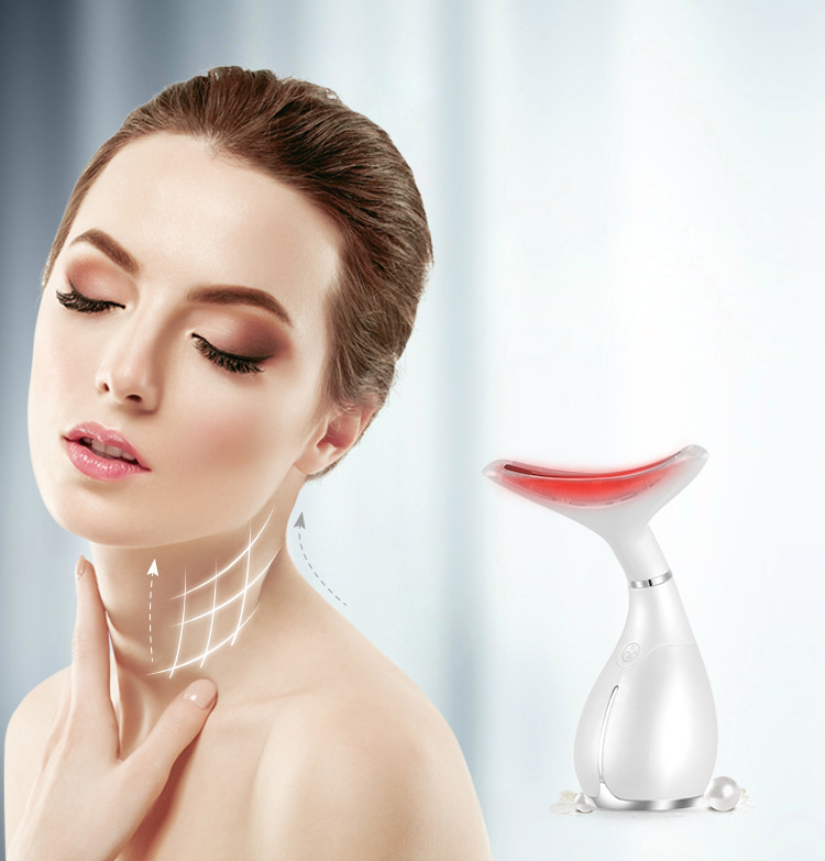Chin Neck Massage LED Photon Therapy Neck Massager Skin Microcurrent Vibration Anti Wrinkle Anti-Ageing Beauty Machine Tool led neck massager vibration therapy neck skin care tighten anti ageing wrinkles skin lifting beauty machine massage device l3