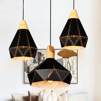 Modern Wooden Chandelier Lamparas Colorful Aluminum Lampshade Restaurant Lights Home Lighting Chandeliers