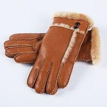Woolen sheep sheepskin mittens cashmere glove elegant fur real solid warm