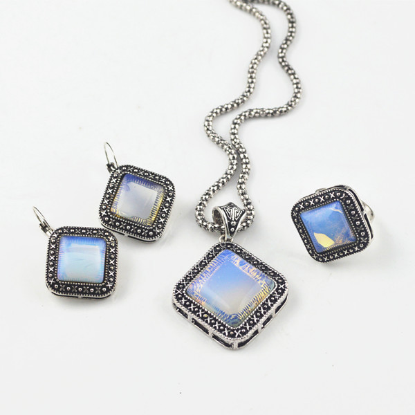 S114K Transparent Opal Stone Stone Necklace Pendant & Earring & Ring per Set Jewlery Set ,Vintage Look,Tibet Alloy,