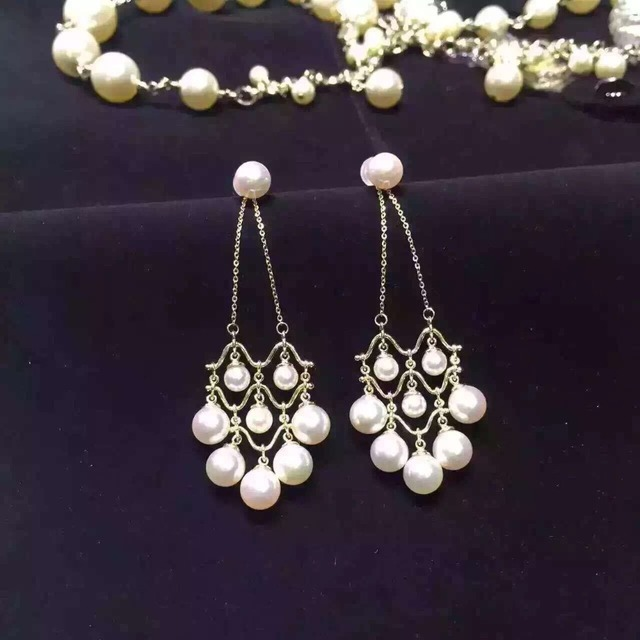 S925 Sterling Silver Earrings Holder DIY Natural Pearl Jewelry