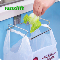 Vanzlife Creative Back Door Type Stainless Steel Trash Bag Shelf Storage Hook Multifunctional Kitchen Cabinet Door