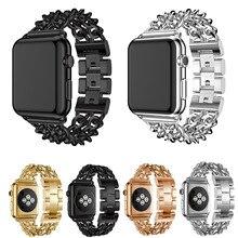 Bracelet de chaîne de lien dacier inoxydable pour le Bracelet de montre dapple 44mm 42mm 40mm 38mm pour le Bracelet en métal de la série 1/2/3/4/5 diwatch