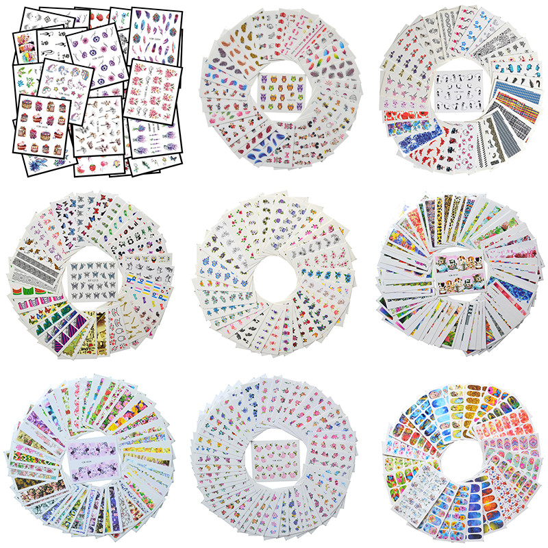 Wholesale Mixed Nail Stickers Sets Water Transfer Decals Flower Lace Cartoon Designs Slider Manicure Foils Nail Art Decoration