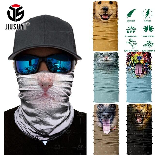 Diadema mágica sin costuras 3D Animal gato perro Panda tubo cuello calentador cara máscara Bandana cabeza bufanda diadema Halloween hombres