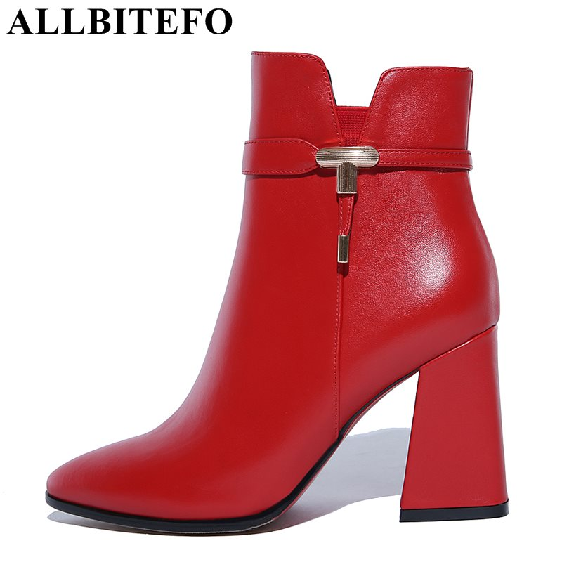ALLBITEFO thick heel genuine leather winter boots fashion brand high heels women boots high quality girls boots size:34-43 allbitefo fashion retro genuine leather pointed toe thick heel women boots ruffles high heels party shoes girls boots size 33 43