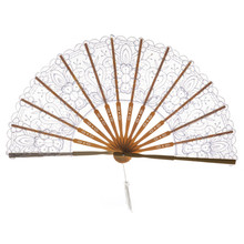 1pc Best Chinese Style Dance Wedding Party Lace Silk Folding Hand Held Flower Fan C523