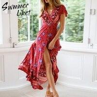 Floral ruffles sleeve beach dress women Long dress wrap split Beach summer 2019 Bohemian print swimsuit cover up V neck sarong