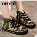 2016Camouflage high opoee child canvas shoes male child girls shoes baby shoes lacing 2016 autumn