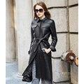 De cuero de gamuza de piel de oveja chaqueta de abrigo de las mujeres de gama alta de moda de cuero genuino sola trinchera de cuero larga del diseño Nueva Phoenix