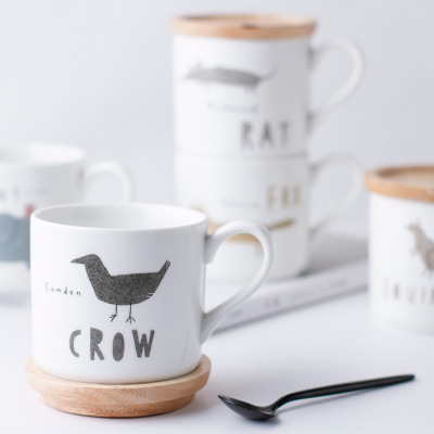 With wood Ceramic Mug Coffee Cup Nordic style animal Cup card