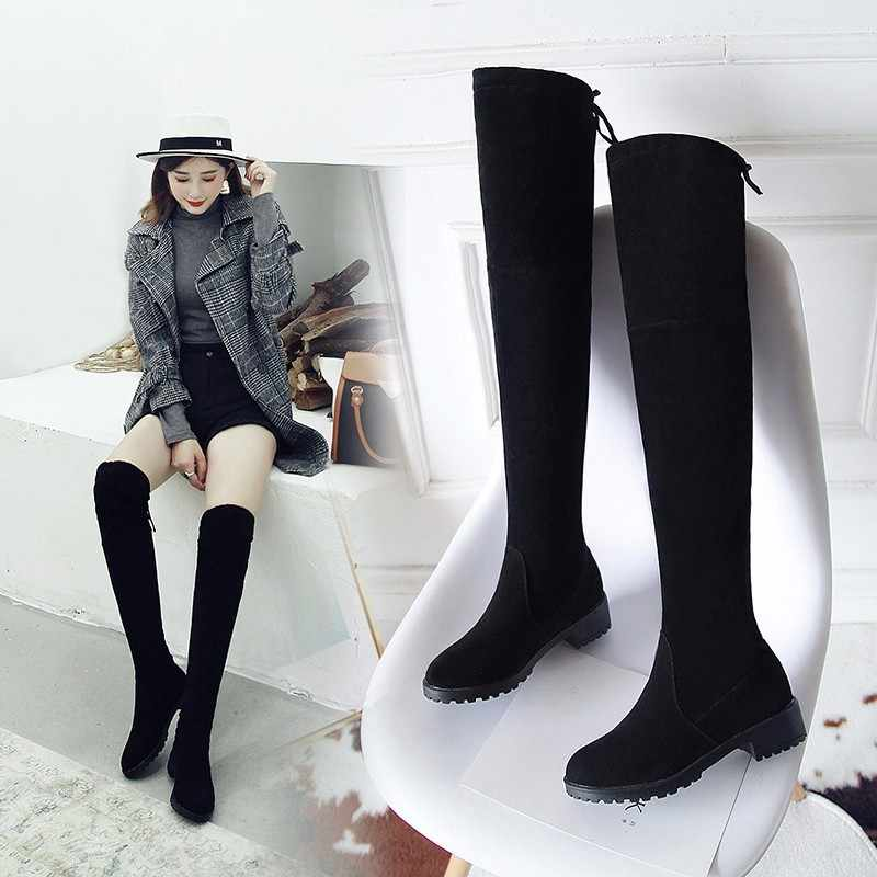 ต้นขาสูงรองเท้าหญิงฤดูหนาวรองเท้าผู้หญิงกว่าเข่าบู๊ทส์แบนยืดเซ็กซี่แฟชั่นรองเท้า 2018 สีดำสีเทาใหม่ขี่