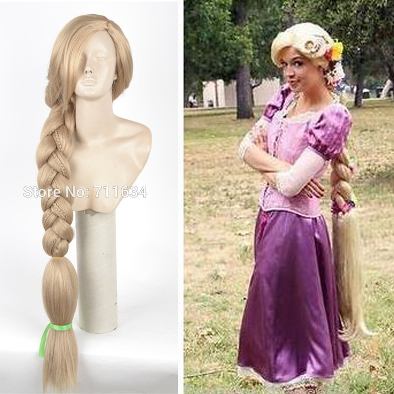 Top Quality 100CM Long Rapunzel Tangled Light Blonde Straight Cosplay Hair Big Braid For Women Party Wig + Wig Cap