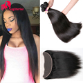 8A Malaysian Virgin Hair 3 Bundles With 13*4 Lace Frontal Closure Malaysian Straight Hair With Closure Human Hair Extensions