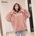 Gours Winter Women's Shearling Hoodies Brand Fashion Colorful Clothing Ladies Wool Coats Warm 2016 New Arrival Plus Size