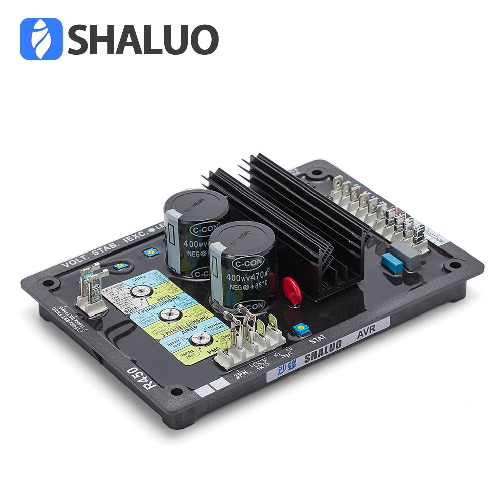 лучшая цена AVR R450 Automatic Voltage Regulator avr generator brushless 3 phase stabilizer for Original diesel power alternator spare part